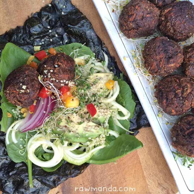 Raw Vegan Teriyaki Meatball Wraps