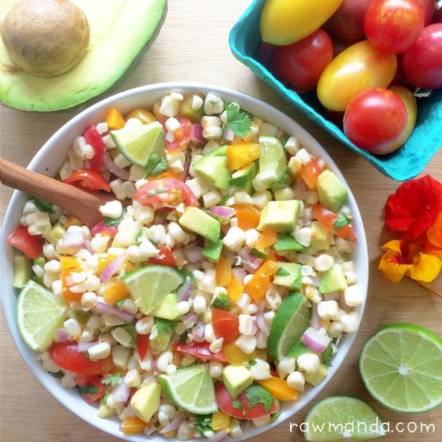 Avocado corn salad raw vegan recipe avocado corn salad raw salsa vegan lowfat forumfinder Image collections