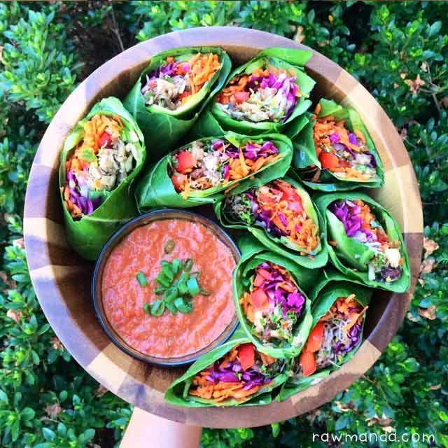 Raw vegan recipe spicy mushroom burritos bell pepper dipping raw vegan mushroom burritos recipe collard wraps forumfinder Images